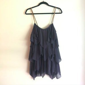 Free People Navy Blue Tiered Chiffon Mini Dress